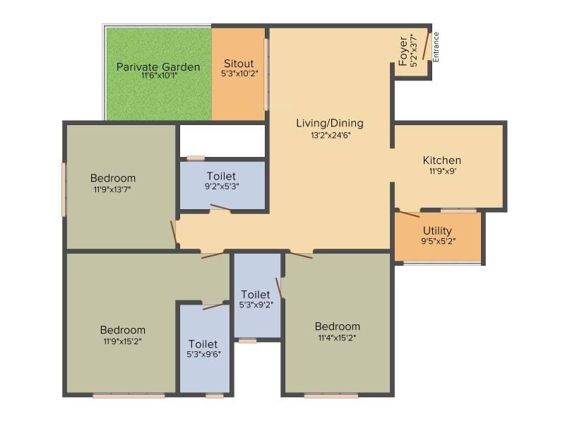 Sobha Avenue (3BHK+3T (1,536 sq ft) 1536 sq ft)