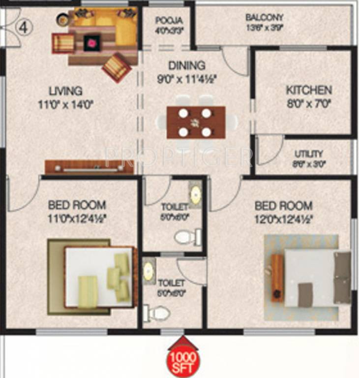 1000 sq ft 2 bhk 2t apartment for sale in navya builders for 1000 sq ft apartment