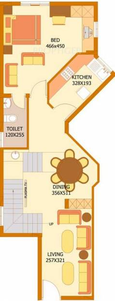 Flairalliance Corbel Lower Level Duplex Plan (3BHK+3T (1,644 sq ft) 1644 sq ft)