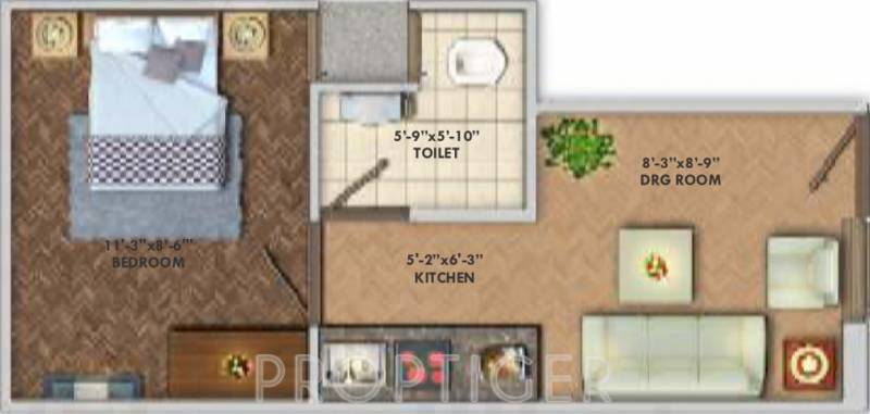 300 sq ft 1 bhk floor plan image deswal shivalik springs. Black Bedroom Furniture Sets. Home Design Ideas