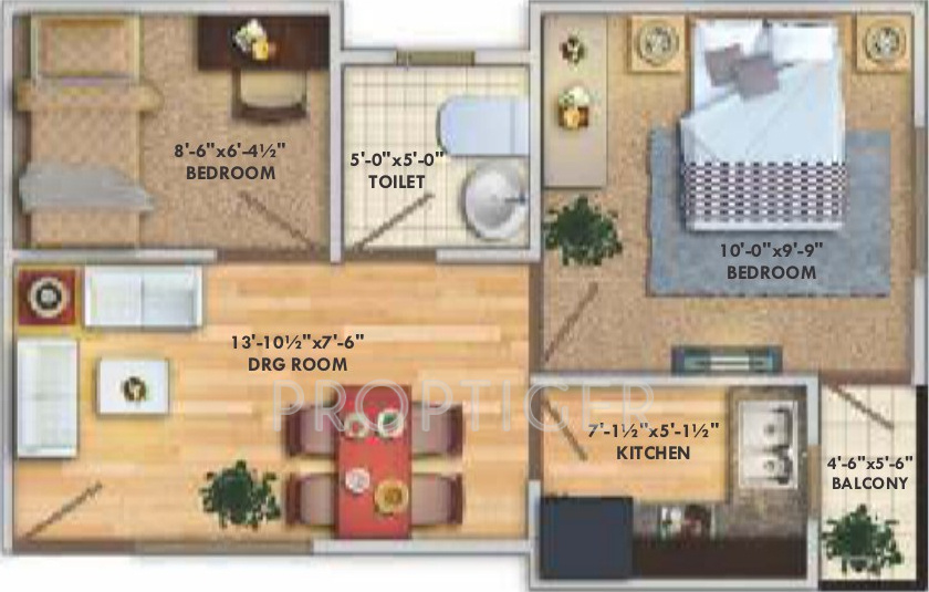 450 sq ft 2 BHK Floor Plan Image Deswal Shivalik Springs