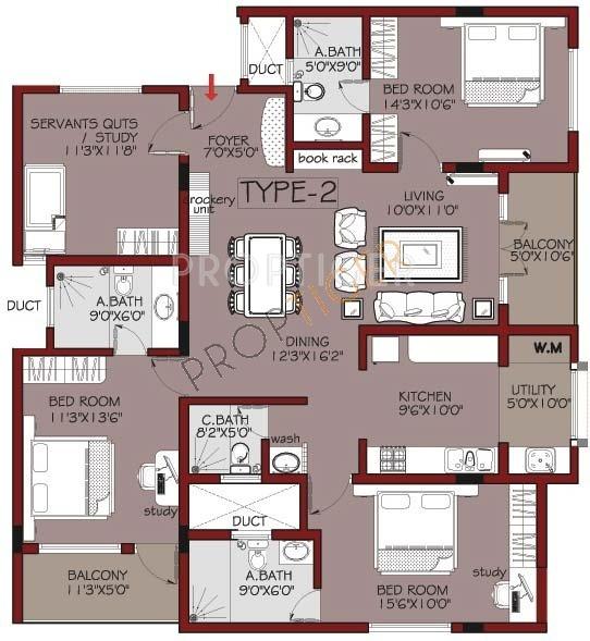 Habitat mayflower in koramangala bangalore price for Floor plan for 4bhk house