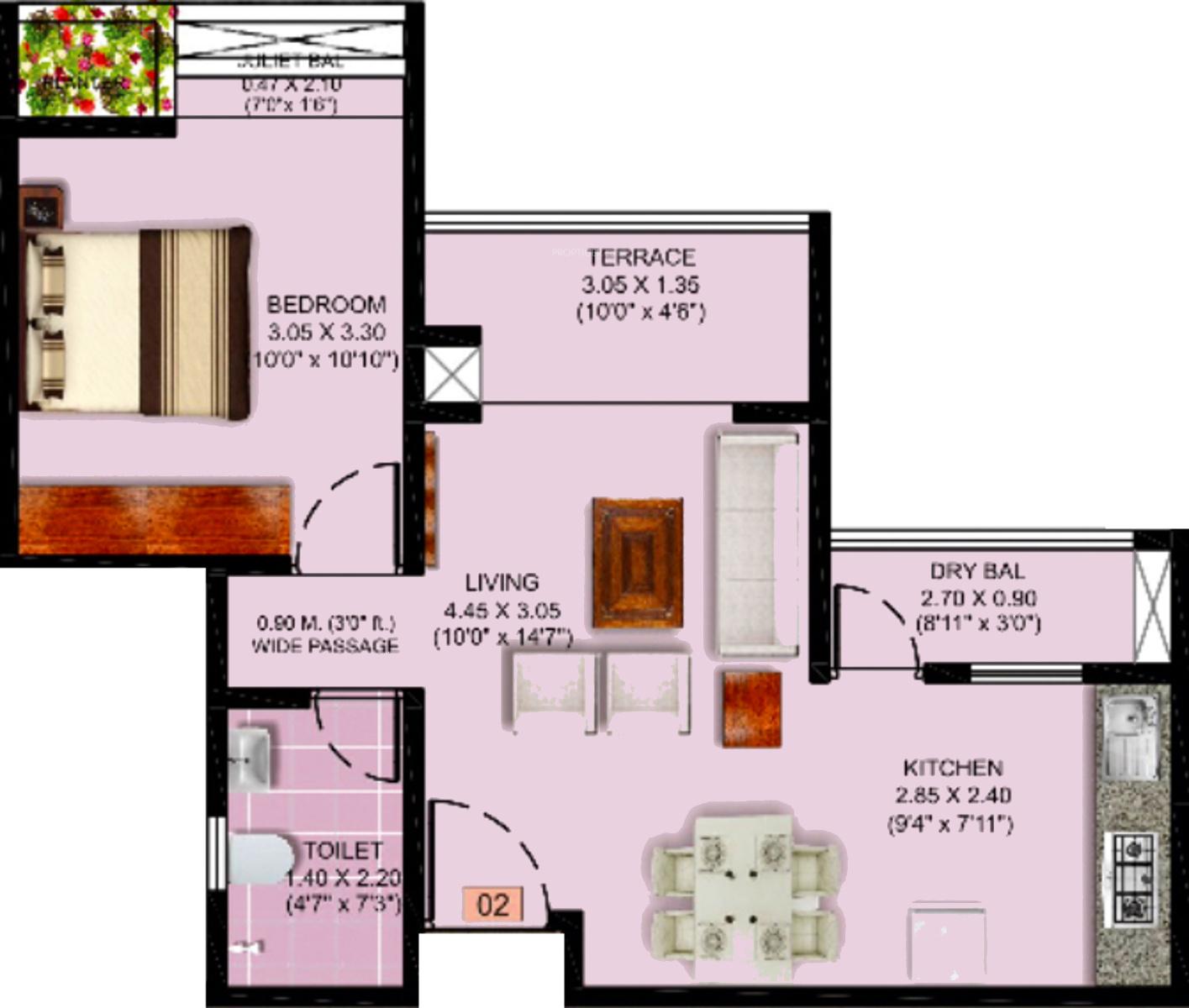640 Sq Ft 1 Bhk 1t Apartment For Sale In Puranik Abitante