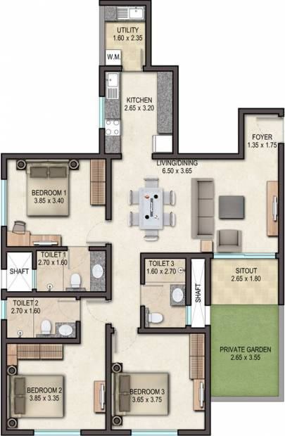 Sobha Avenue (3BHK+3T (1,548 sq ft) 1548 sq ft)