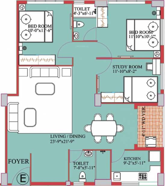 Meharia Windsor Heights (2BHK+2T (1,320 sq ft)   Study Room 1320 sq ft)