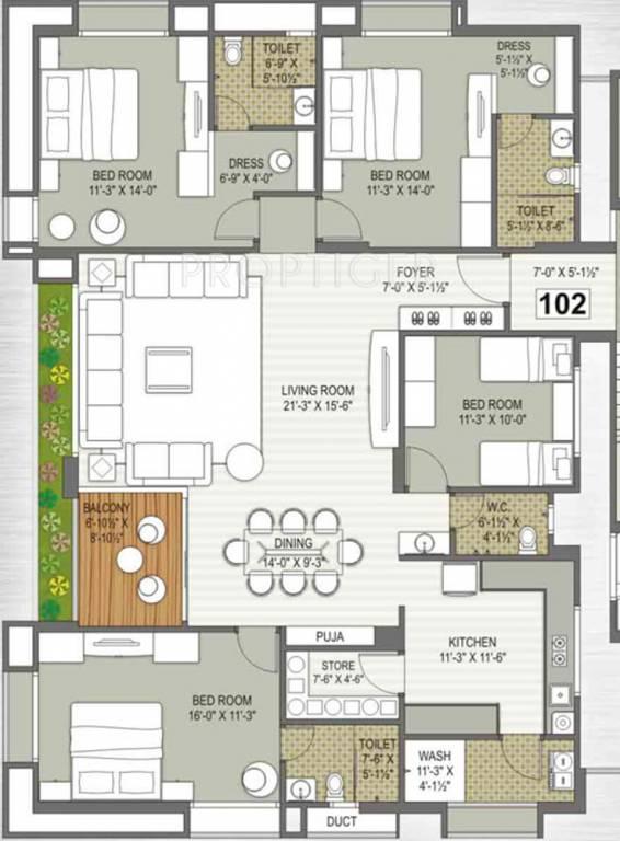 3000 sq ft 4 bhk 4t apartment for sale in gokul platinum for Apartment floor plans 3000 sq ft