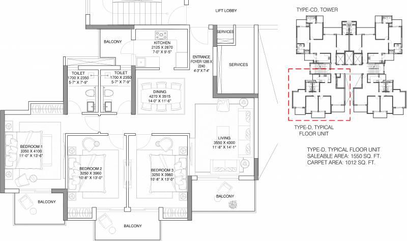 ATS Grandstand (3BHK+2T (1,550 sq ft) 1550 sq ft)