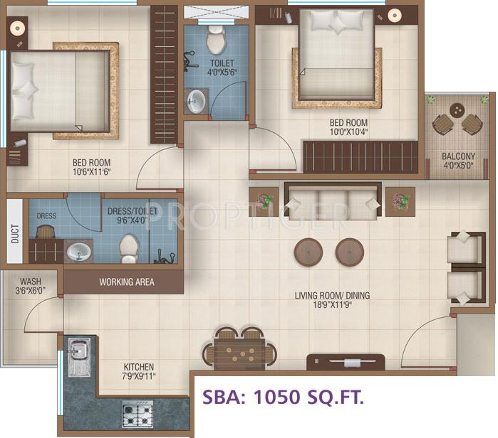 Ananta Ashtha (2BHK+2T (1,050 sq ft) 1050 sq ft)
