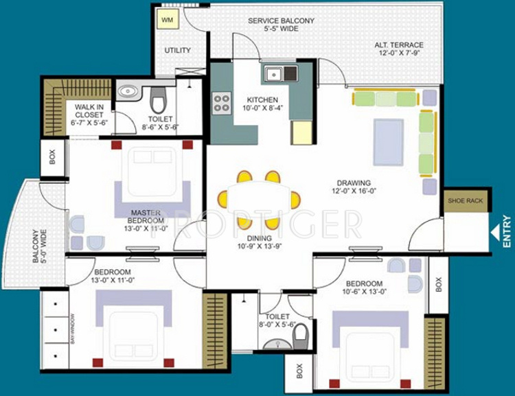 1825 sq ft 3 BHK Floor Plan Image - Designarch E Homes Available for ...