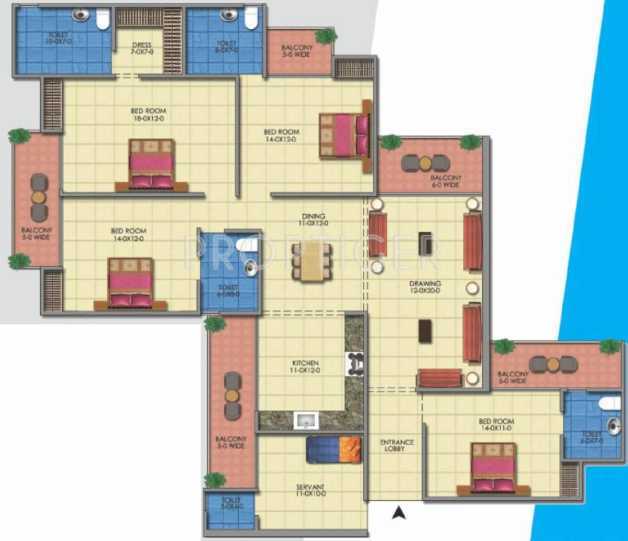 2500 sq ft 4 bhk 5t apartment for sale in the antriksh for Apartment floor plans 2500 sq ft