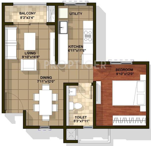 720 sq ft 1 bhk 1t apartments in brigade cedar for 720 sq ft apartment floor plan