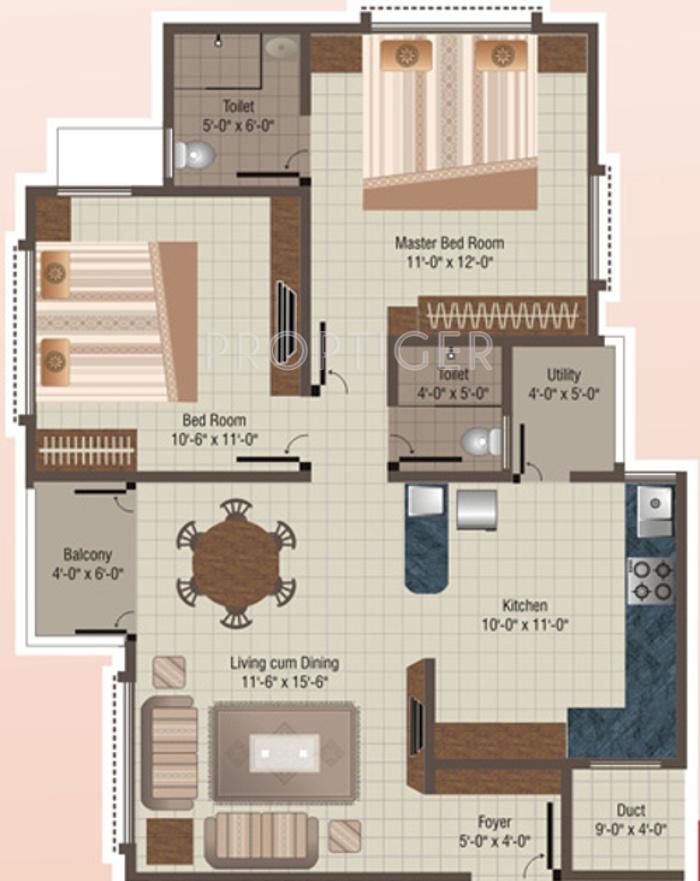 1150 Sq Ft 2 Bhk 2t Apartment For Sale In Ratnakar Regency