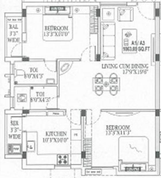 MR Vijaya Lakshmi Apartments (2BHK+2T (992 sq ft) 992 sq ft)