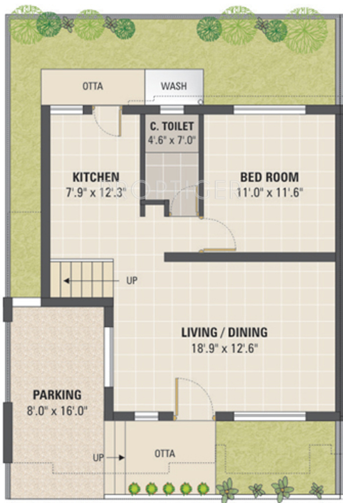 2 Bhk Plan With Elevation Floor Plans For Bungalows Joy