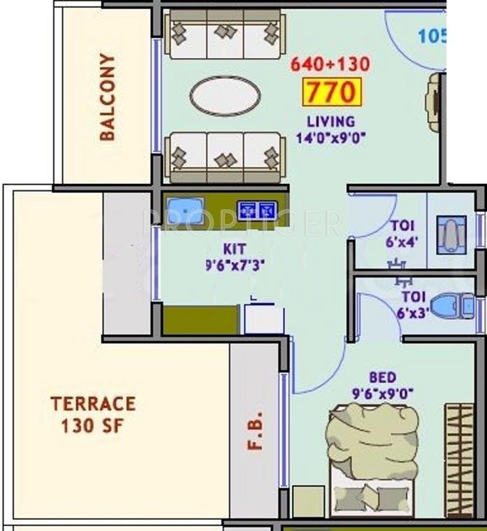 770 Sq Ft 1 Bhk 2t Apartment For Sale In Yashraj Sai