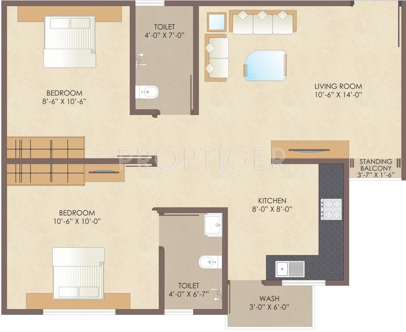 900 Sq Ft Apartment Floor Plan – Villas At Fortune Place Floor Plan
