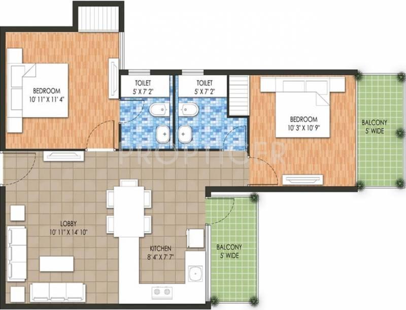 640 Sq Ft 2 Bhk Floor Plan Image Raheja Developer