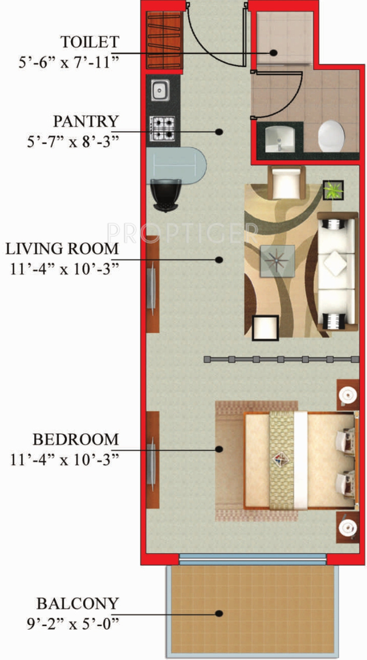 540 Sq Ft 1 Bhk 1t Apartment For Sale In Mmr Saha The