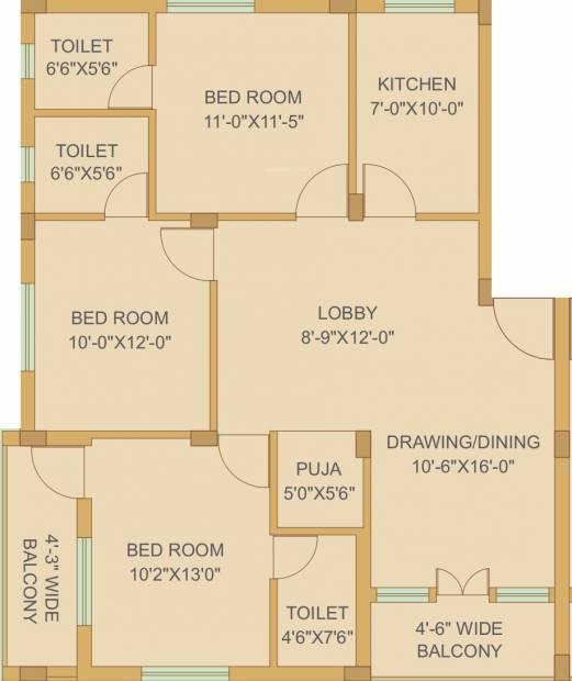 Bhavishya Aanchal Homes (3BHK+3T (1,613 sq ft) + Pooja Room 1613 sq ft)