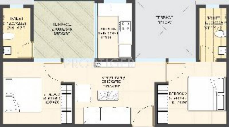 650 sq ft 2 bhk floor plan image eiffel developers city for 650 square feet floor plan