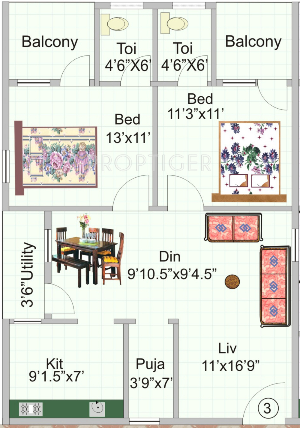 1125 sq ft 2 bhk 2t apartment for sale in kr constructions for 1125 sq ft floor plan