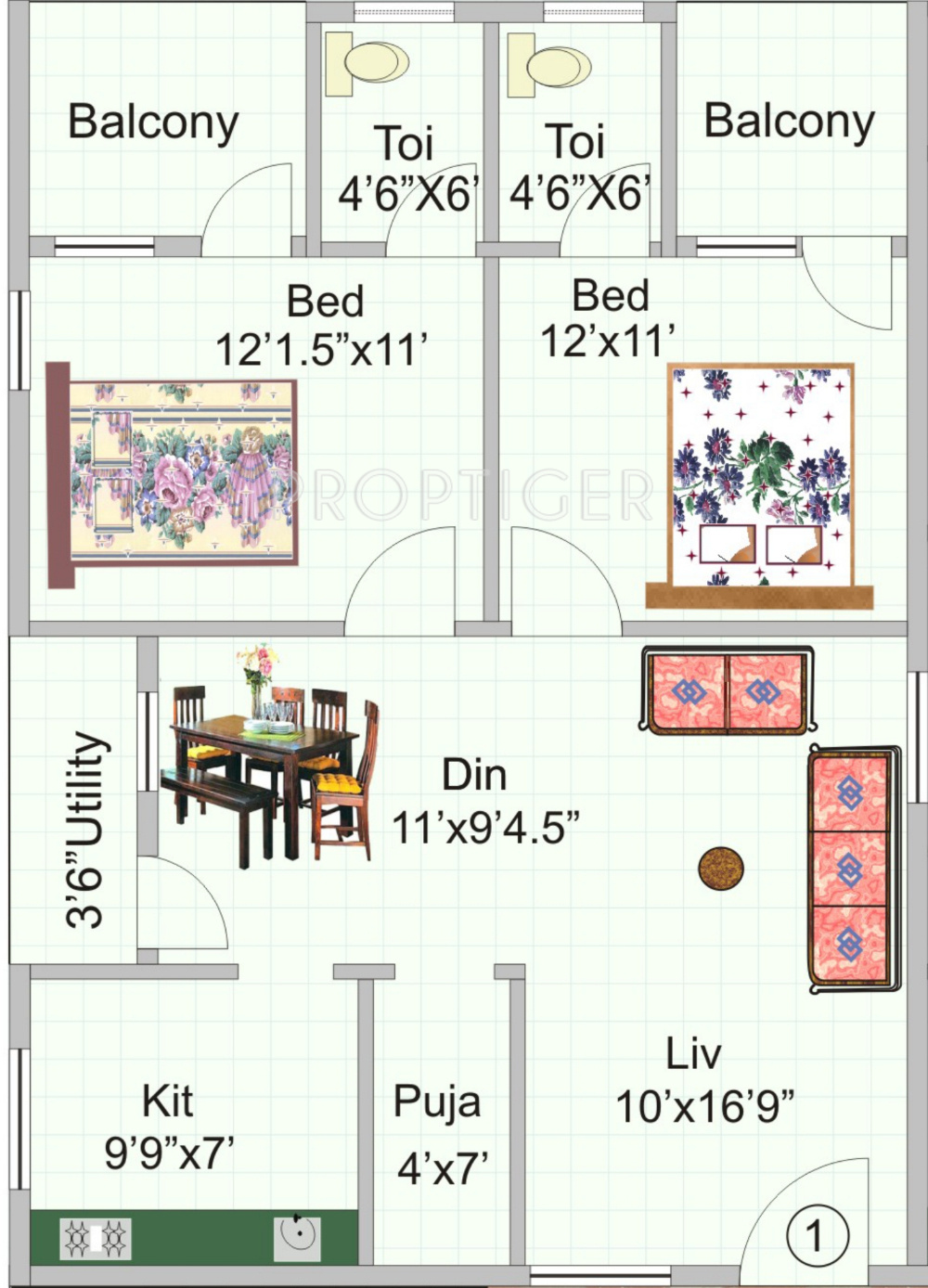 1120 sq ft 2 bhk 2t apartment for sale in kr constructions for 1120 westchester place floor plan