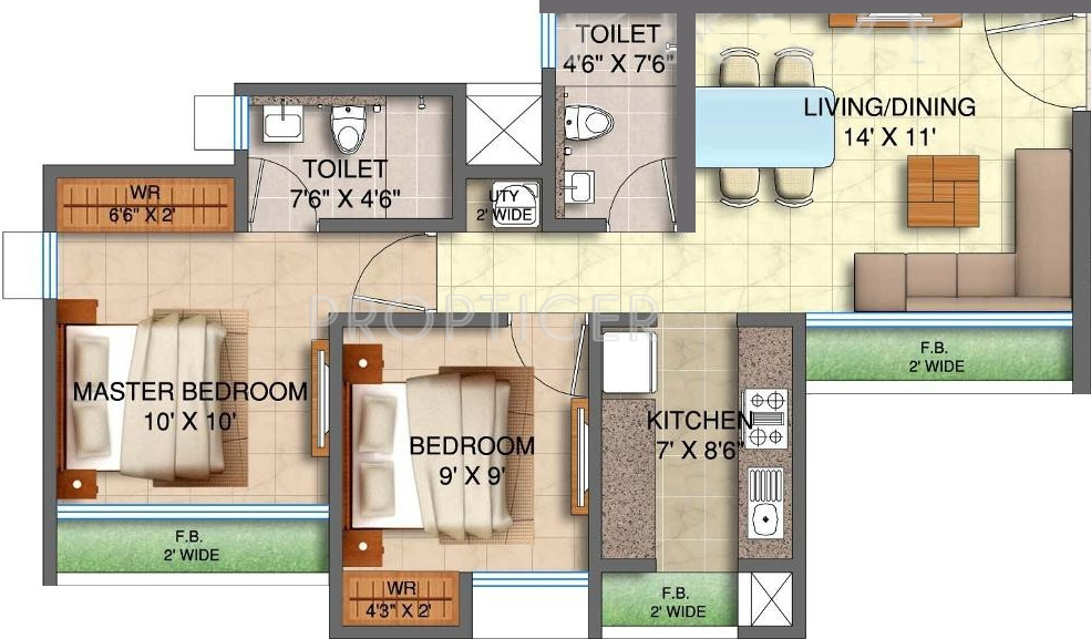 870 sq ft 2 bhk 2t apartment for sale in runwal realty my