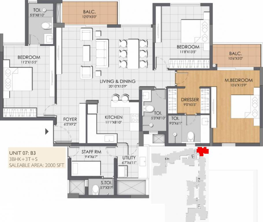2000 sq ft 3 bhk 3t apartment for sale in dnr group for Apartment floor plans for sale