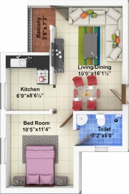 Shriram Shreshta Apartments (1BHK+1T (645 sq ft) 645 sq ft)