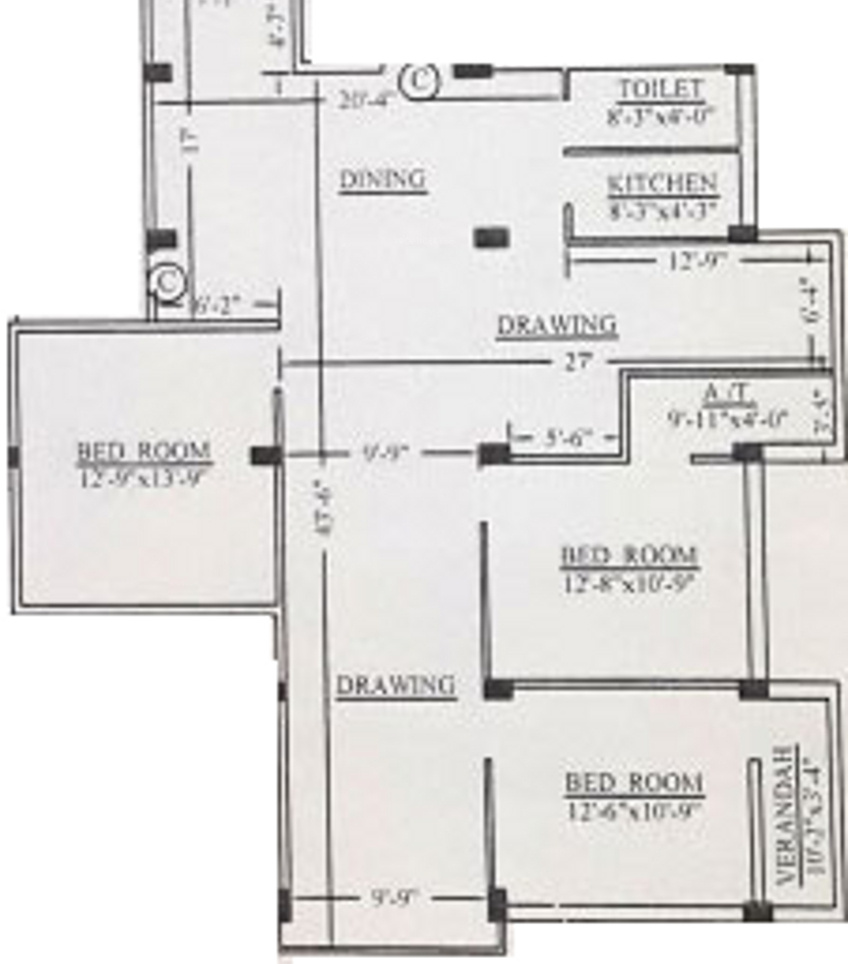 1077 sq ft 3 bhk 3t apartment for sale in salute for 1077 marinaside crescent floor plan
