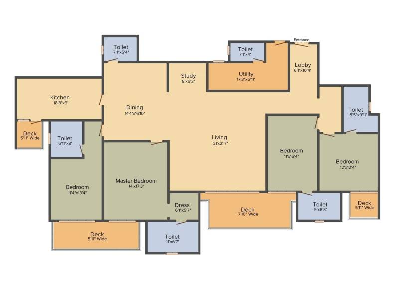 DLF The Crest (4BHK+6T (3,479 sq ft)   Study Room 3479 sq ft)