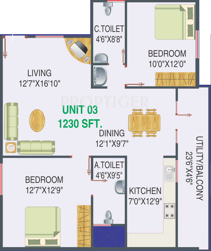1230 sq ft 2 bhk 2t apartment for sale in dhanush