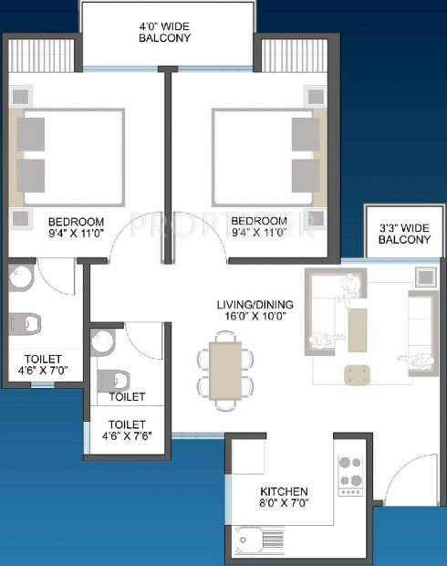 Aarcity Moon Towers (2BHK+2T (825 sq ft) 825 sq ft)