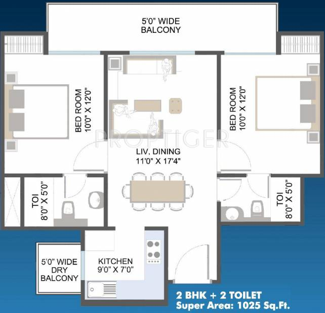 Aarcity Moon Towers (2BHK+2T (1,025 sq ft) 1025 sq ft)