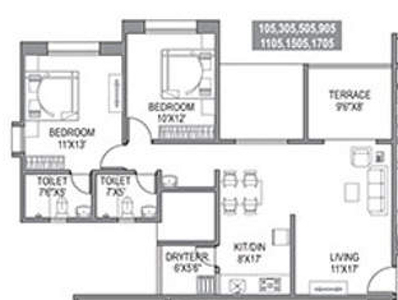 1100 sq ft 2 bhk 2t apartment for sale in paranjape for 1100 sq ft apartment floor plan