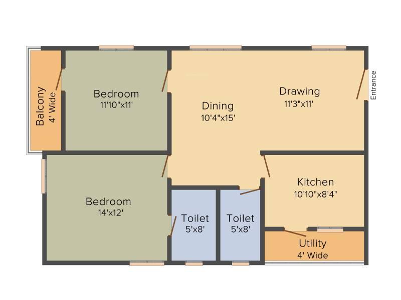 Sai LR East Oak (2BHK+2T (1,190 sq ft) 1190 sq ft)
