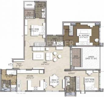 2070 Sq Ft 3 Bhk Floor Plan Image Brigade Group Mountain View Available Rs 5 290 Per Sqft For Sale Rs In 1 10 Crore Proptiger Com