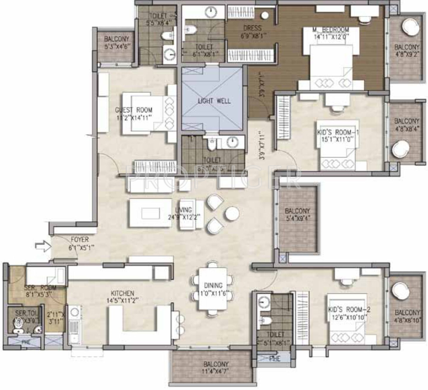 2550 Sq Ft 4 Bhk 4t Apartment For Sale In Brigade Mountain