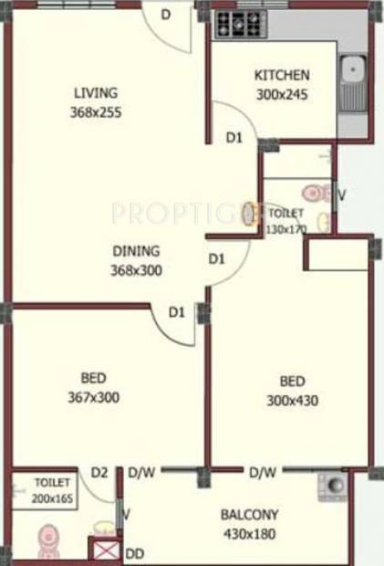 Jewel Nexus (2BHK+2T (799 sq ft) 799 sq ft)