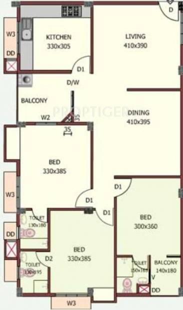 Jewel Nexus (3BHK+3T (1,190 sq ft) 1190 sq ft)