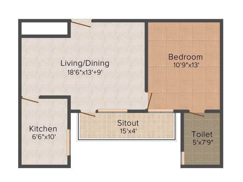 Vipul Pratham Apartments (1BHK+1T (815 sq ft) 815 sq ft)