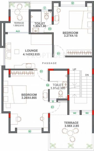 Nagpal Meadows Uptown Row Houses Floor Plan (3BHK+3T (1,775 sq ft) 1775 sq ft)