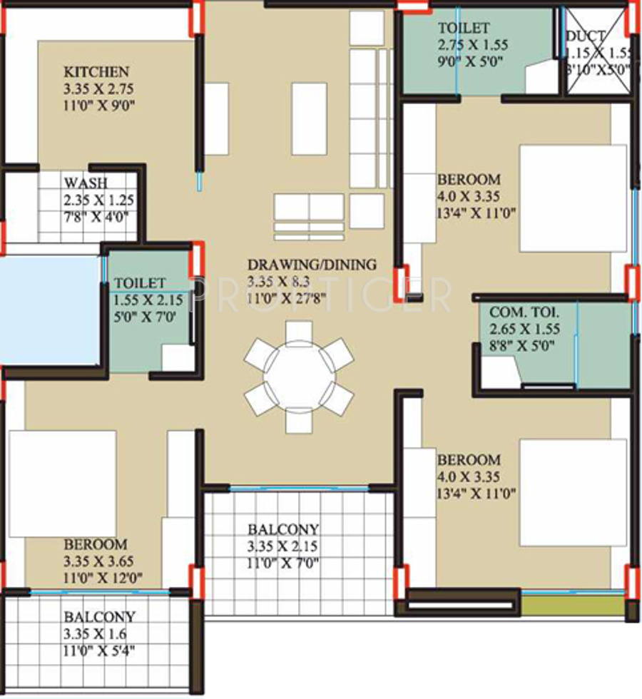 1700 Sq Ft 3 Bhk 3t Apartment For Sale In Coral Reefs