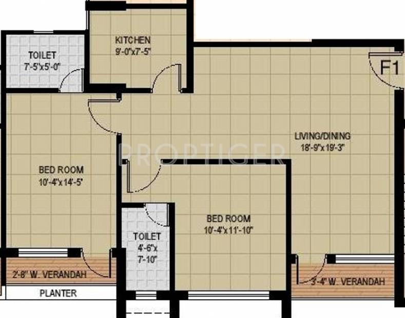 Mounthill Fussion Courtyard (2BHK+2T (1,330 sq ft) 1330 sq ft)