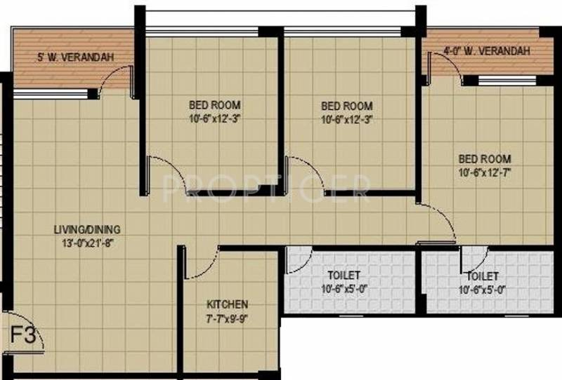 Mounthill Fussion Courtyard (3BHK+2T (1,543 sq ft) 1543 sq ft)