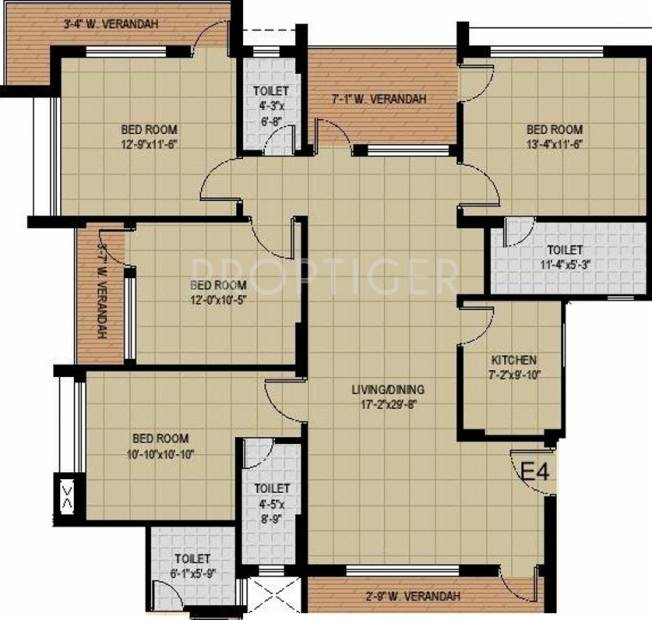 Mounthill Fussion Courtyard (4BHK+4T (2,168 sq ft) 2168 sq ft)