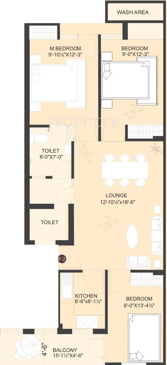1280 sq ft 3 bhk 2t apartment for sale in balaji dham vani for X2 residency floor plan