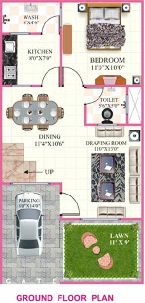 Rai Homes Universal Pink City (3BHK+2T (1,190 sq ft) 1190 sq ft)