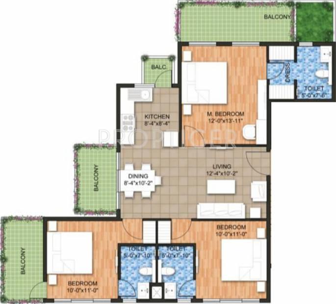 Raheja Ayana Residences (3BHK+3T (1,555 sq ft) 1555 sq ft)