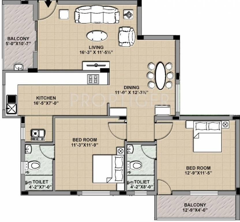 1130 sq ft 2 bhk 2t apartment for sale in ras subiksha for Mascot homes floor plans